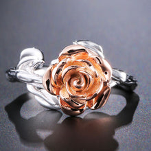 Load image into Gallery viewer, Sterling Silver Rose Flower Ring - Rose Gold Plated - Tafani's