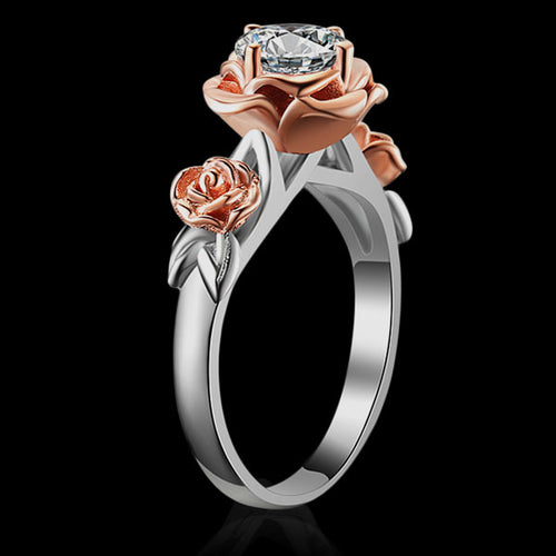 Sterling Silver Rose Flower Ring - Natural Topaz - Tafani's