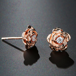 14k Rose/Yellow Gold Rose Flower Stud Earrings - Moissanites - Tafani's