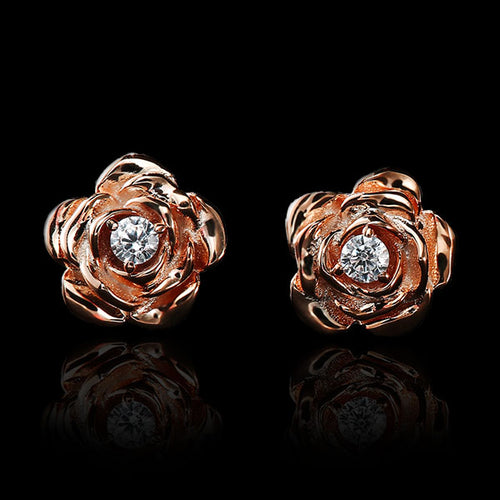 14k Rose/Yellow Gold Rose Flower Stud Earrings - Diamonds - Tafani's