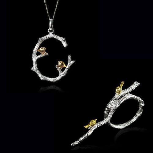 Sterling Silver Bird on Branch Ring & Pendant Set - Handmade - Tafani's
