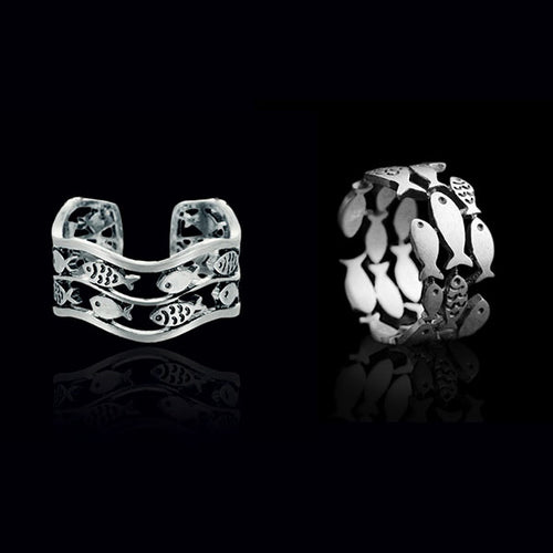 2x Silver Fish Rings Set - Tafani's