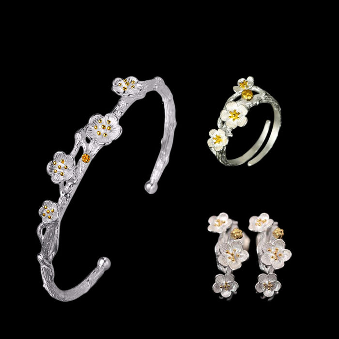 Sterling Silver Flower  Stud Earrings & Ring & Bracelet Set - Tafani's