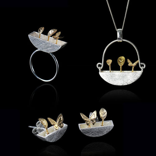 Sterling Silver Little Garden Ring & Earrings & Pendant Set - Handmade - Tafani's