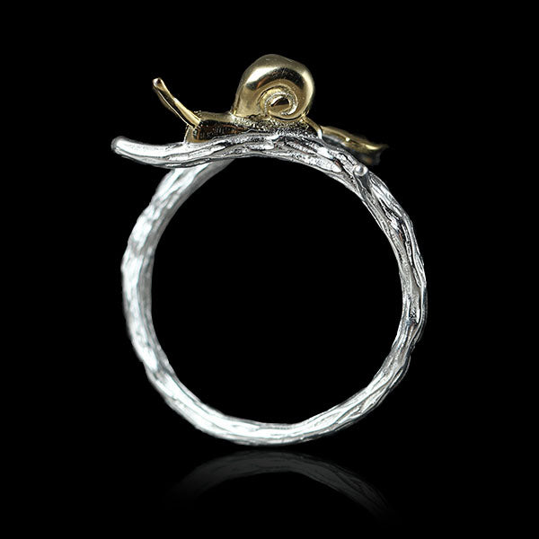 Sterling Silver Snail on Ginkgo Plant Ring - Handamde - Tafani's