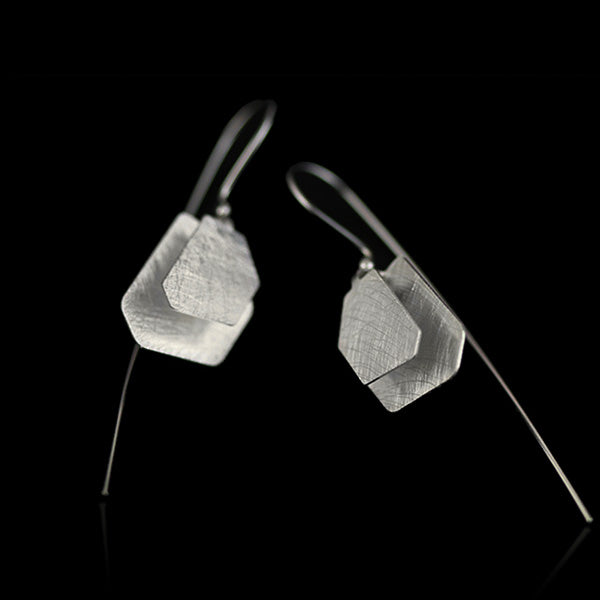 Sterling Silver Irregular Polygon Drop Earrings - Handmade - Tafani's