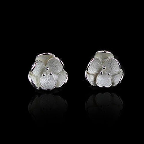 Sterling Silver Flower Stud Earrings - Handmade - Tafani's