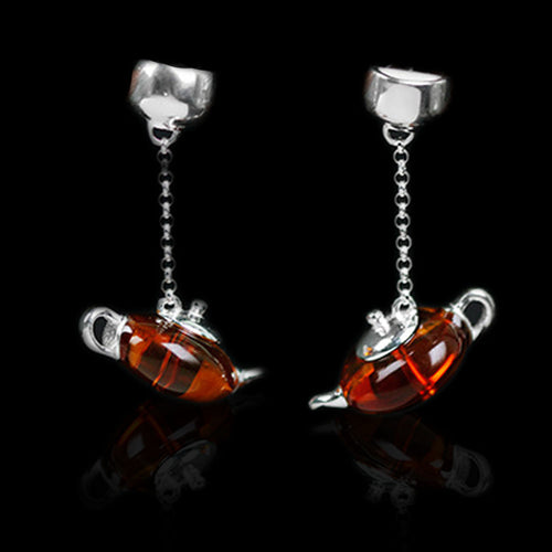 Handmade Sterling Silver Teapot Drop Earrings - Natural Amber - Tafani's