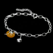 Load image into Gallery viewer, Handmade Sterling Silver Teapot Bracelet - Natural Amber - Tafani's