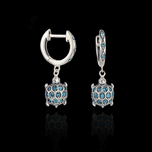 Sterling Silver Turtle Drop Earrings - Blue Zircons - Tafani's