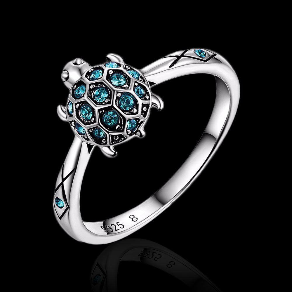 Sterling Silver Turtle Ring -  Blue Zircon - Tafani's