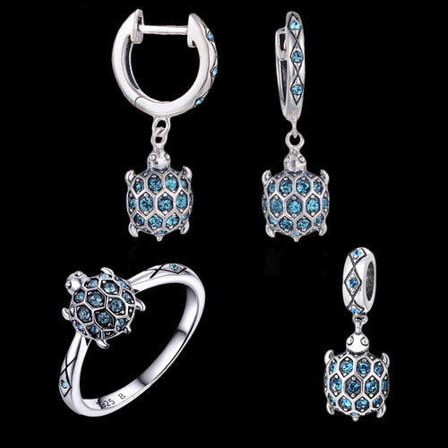 Sterling Silver Turtle RIng + Earrings + Pendant Set - Blue Zircons - Tafani's