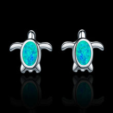 Load image into Gallery viewer, Sterling Silver Turtle Stud Earrings - Blue Opal - Tafani's