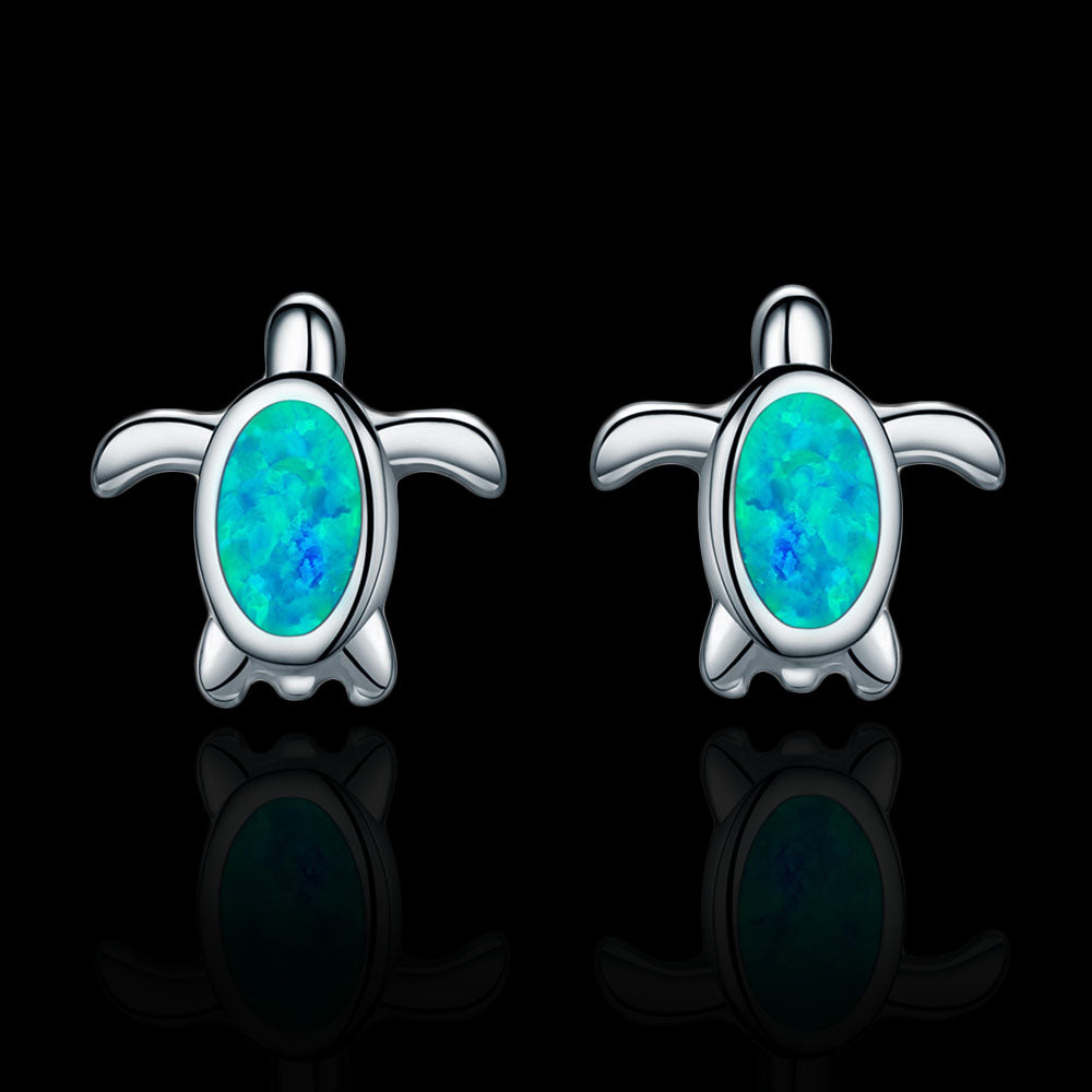 Sterling Silver Turtle Stud Earrings - Blue Opal - Tafani's