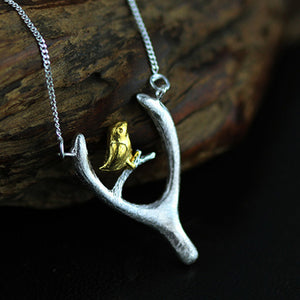 Sterling Silver Bird and Wish Bone Necklace - Handmade - Tafani's