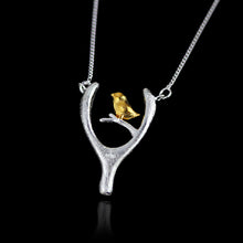 Load image into Gallery viewer, Sterling Silver Bird and Wish Bone Necklace - Handmade - Tafani's
