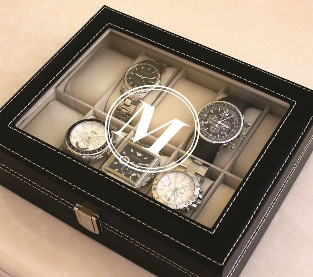Personalized Black Watch Storage Box with Initial - Groomsman Fathers Day Gift - Custom Monogrammed