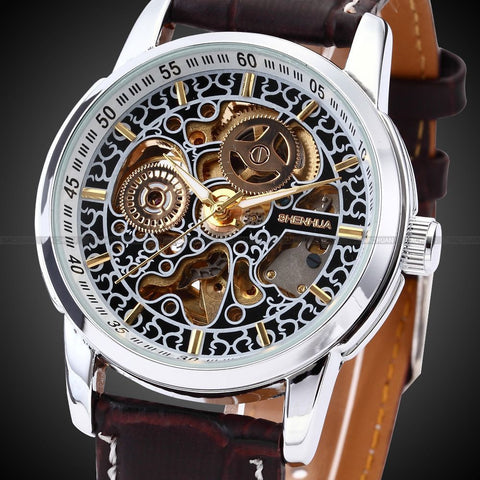 SHENHUA Mens Skeleton Automatic Wristwatch