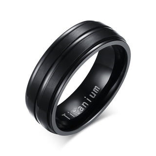 Vnox Black Men Ring 100% Titanium Carbide