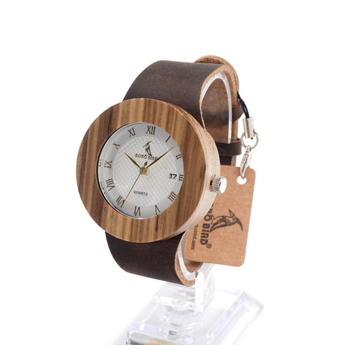 BOBO BIRD Round Vintage Women's Bamboo Watch