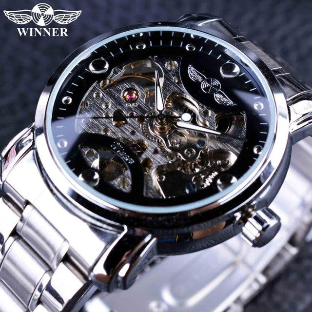 Winner Blue Ocean Stainless Steel Men Skeleton Automatic Watch