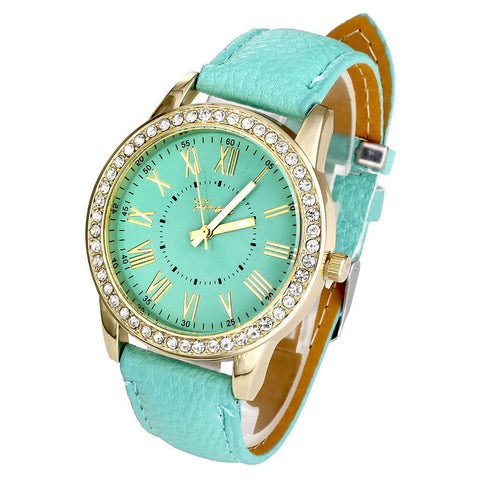 Geneva Women PU Leather Roman Rhinestone Watch