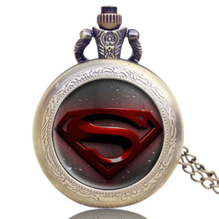 Antique Superman Design Pocket Watch