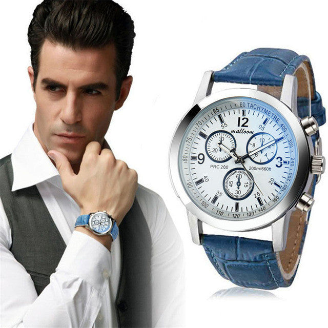 Mens Blue Ray Glass Quartz Watch