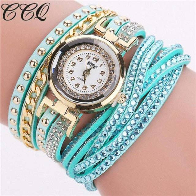 CCQ Women's Rhinestone Bracelet Watch