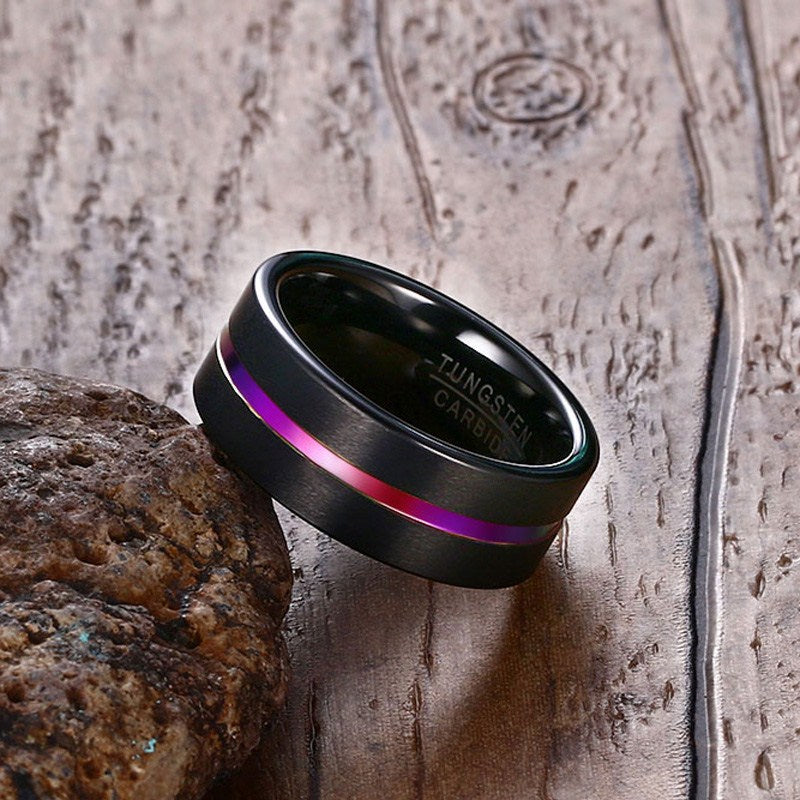 Tungsten Ring For Men Trendy Rainbow Carbide Groove