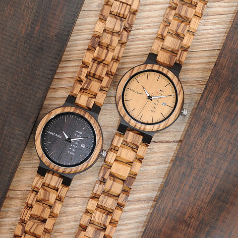 BOBO BIRD WO26 Zebra Wood Watch