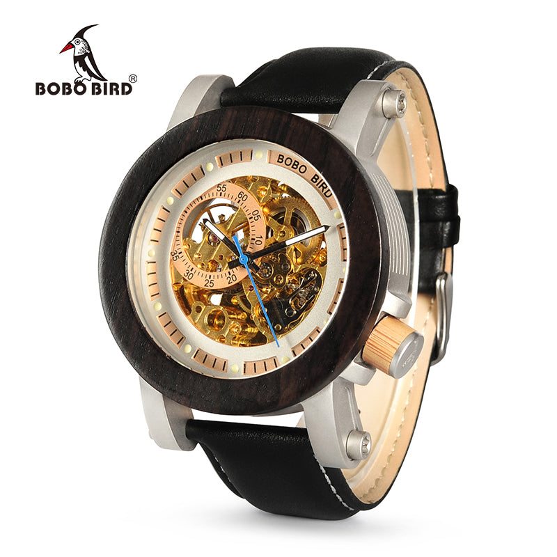 in design with bobo watch bands leather watches luxury products gift bobobird wristwatches men brand bird top wooden box bamboo wood