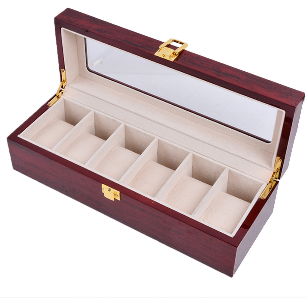 6 Slot Watch Display Case Organizer Jewelry Cosmetics Storage Box Holder