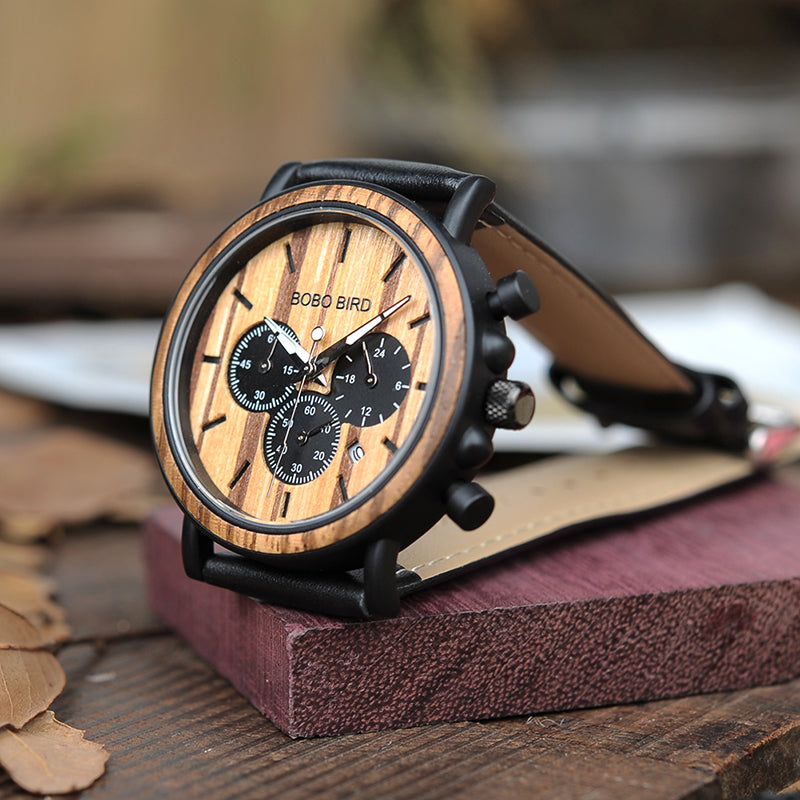 BOBO BIRD LP09 Stainless Steel Wooden Watch