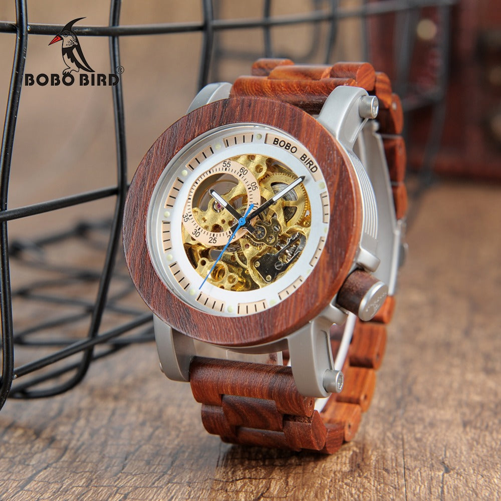 BOBO BIRD Wood&Steel Exposed Mechanical Watch