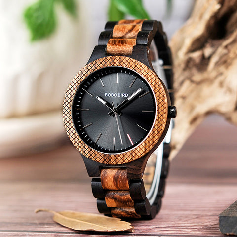 Two-tone Zebra Wood & Ebony Wooden Watch