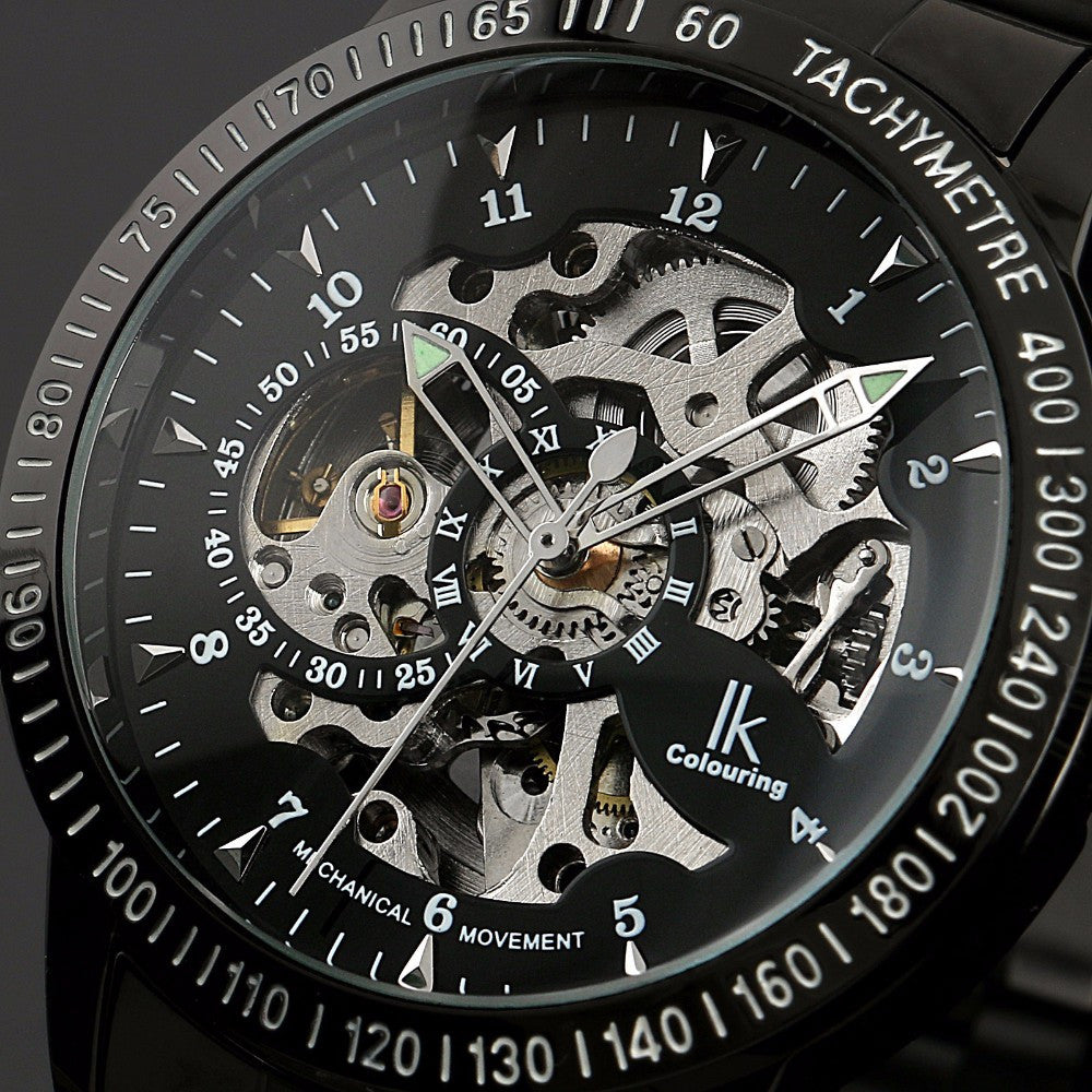 Colouring Stainless Steel Skeleton Automatic Watch