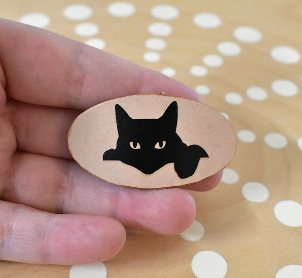 Black cat french barrette
