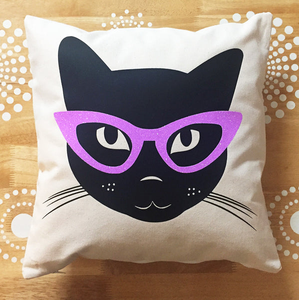 Black cat with glasses pillow cover