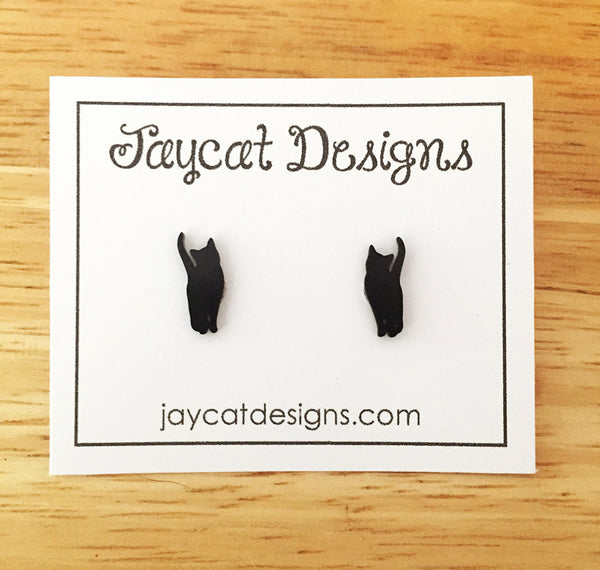 curious black cat earrings