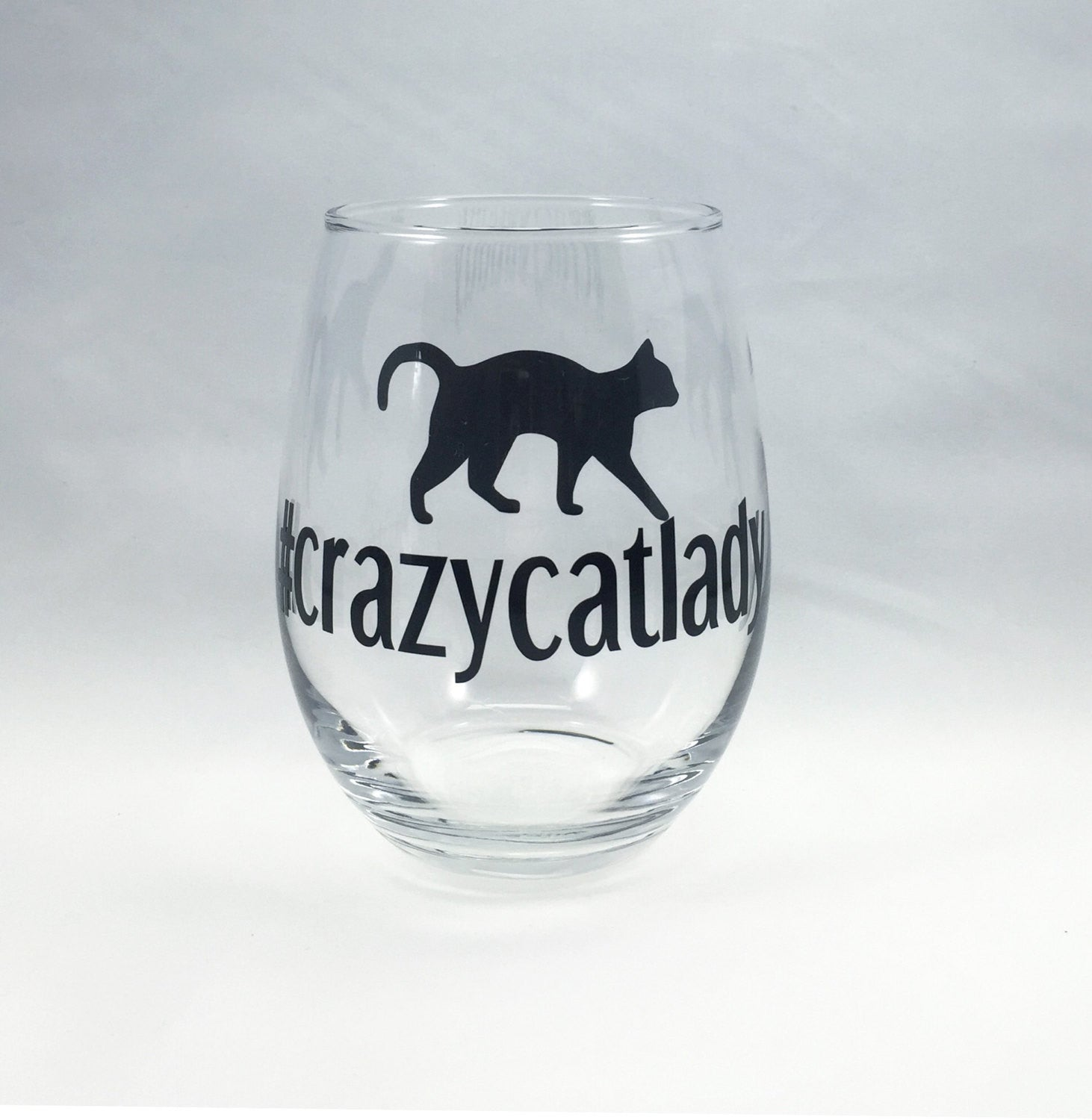 hashtag crazy cat lady wine glass