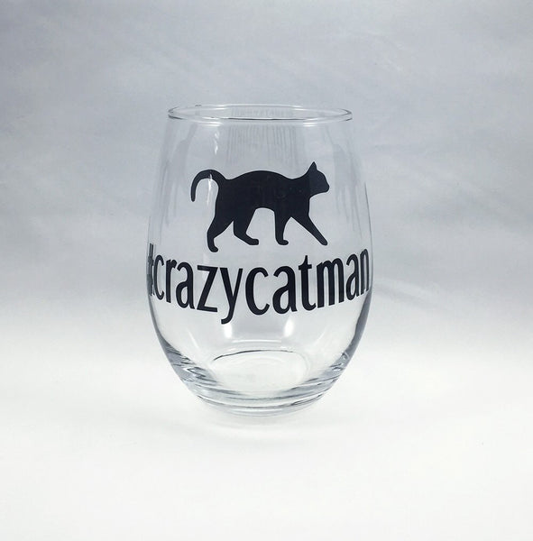 Hashtag Crazy Cat Man Stemless Wine Glass