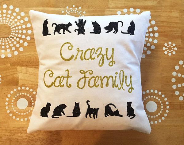 crazy cat family pillow cover