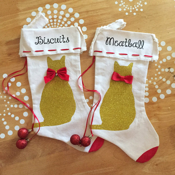Gold Cat Christmas Stocking