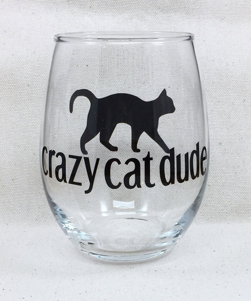 crazy cat dude wine glass