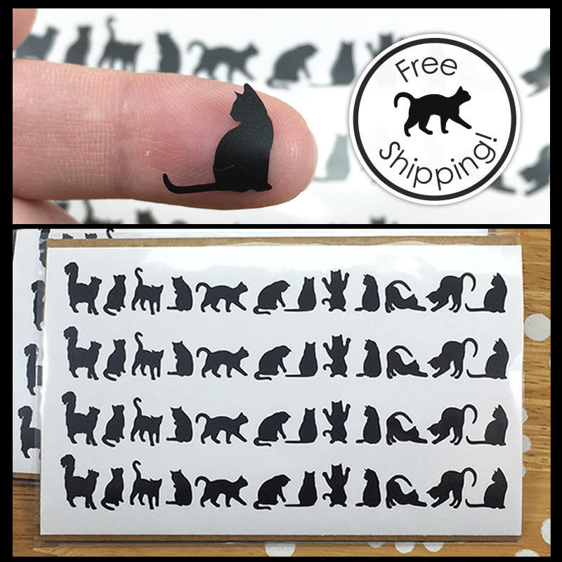 tiny black cat decals