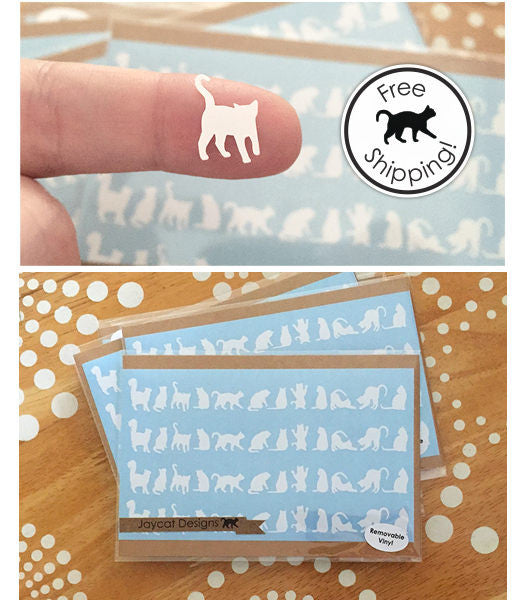 Tiny White Cat Stickers