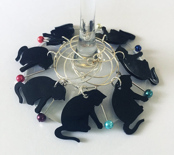 black cat wine charms