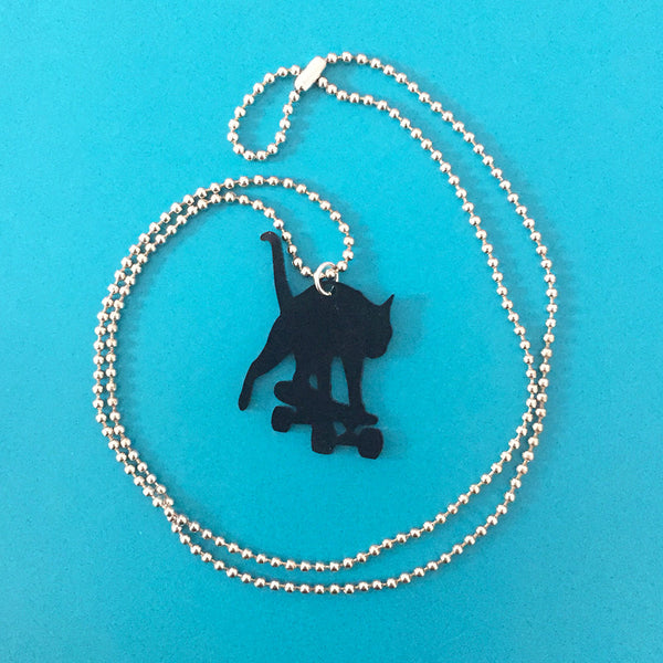 Romeo Collection Skateboarding Cat Necklace