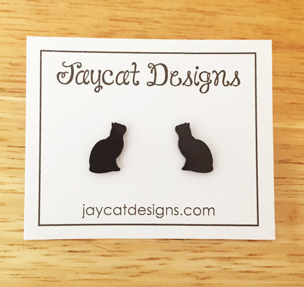 kitty love black cat earrings